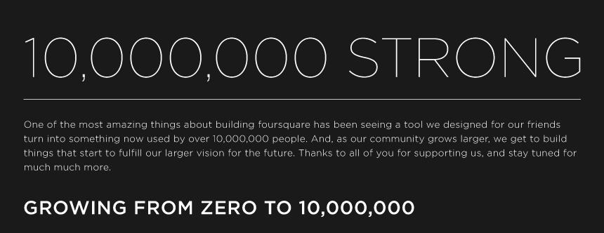 foursquare reach 1 million